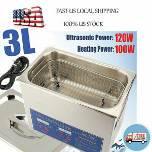 Industry 3l Liter Heated Ultrasonic Cleaner Jewellery Washing Clean Heater Timer
