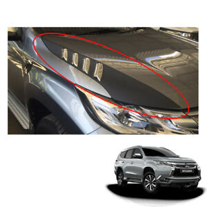 Mitsubishi Pajero Montero Sport Side Bonnet Hood Scoop Cover Black Fit 2016 2017
