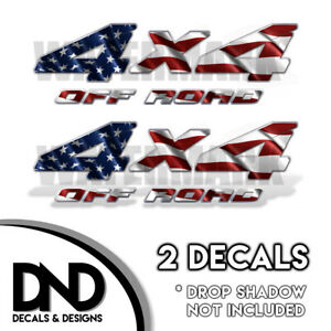 4x4 Off Road Decals 2 Pk Sticker For Silverado Sierra Truck American Flag D