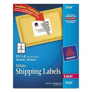 Avery 5164 Shipping Labels With Trueblock Technology 3 1 3 X 4 White 600 box