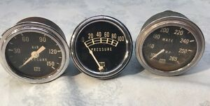 3 Vintage Stewart Warner Gauges Fuel Oil Pressure Water Temperature