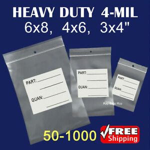 4 mil Ziplock White Block Parts Bags W hanghole Tags Label Count Inventory