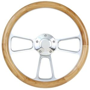 Billet Alder Wood Hot Rod Steering Wheel For Flaming River Ididit Gm Column