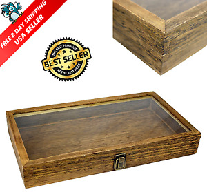 Vintage Style Wood Box Jewelry Storage Earrings Organizer Case Top Glass Display