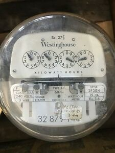 Vintage Westinghouse Electric Meter 240 Volts 100 Amp 3 wire 2p2g4 Ds 1954 R