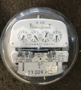 Vintage Westinghouse Electric Meter 240 Volts 100 Amp 3 wire 2p2g4 Ds 1954 P