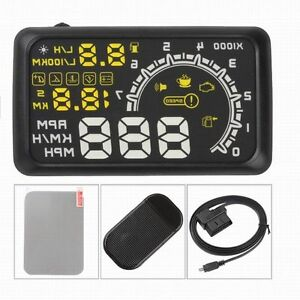 5 5 Obd2 Hud Head Up Display Kmh Mph Voltage Speed Alarm Speedometer Guage W02