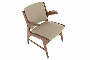 Danish Modern Teak Lounge Chair In Grey Brown Wool
