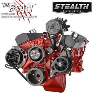 Black Chevy Small Block Serpentine Conversion Kit Ac Power Steering Lwp