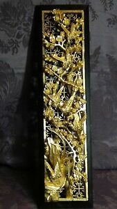 Antique 19c Chinese Deep Relief Wood Carved Pierced Gilt Temple Panel W Birds
