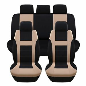 Polyester Car Interior Styling Universal Full Set Car Seat Cushion Covers Beige