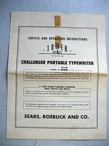 Vintage User Manual For Sears challenger Manual Typewriter 6 Pages W warranty