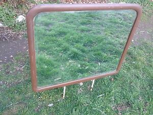 Vtg 32in X 26 5in Beveled Glass Mirror Oak Wood Frame Vanity Bedroom Dresser