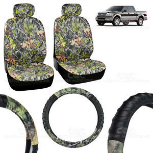 2 Front Low back Camo Seat Covers And Pu Leather Steering Wheel Cover 5pc Set