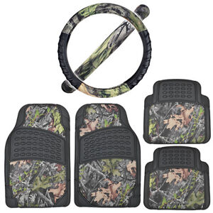 Black camo Rubber Floor Mats W Cushion Grip Steering Wheel Cover Camouflage