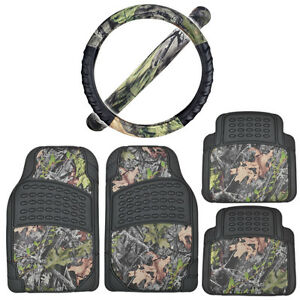 Rubber Car Floor Mats Black W Camo Inlay Comfort Grip Steering Wheel Cover
