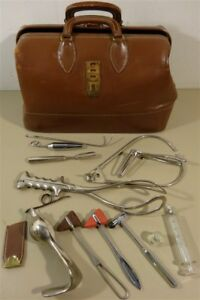 Vintage Country Doctor Satchel Tools Delivery Forceps Specula And More
