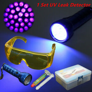 1set Uv Leak Detector A C Automotive Fluid Gas 14 Led Long Wave Black Lights