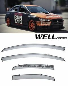 For 08 17 Mitsubishi Lancer Wellvisors Side Window Visors Rain Guard
