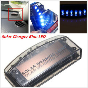 Car 6led Blue Solar Burglar Alarm Warning Strobe Flash Light Anti Theft Security