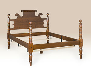 Queen Size Cannonball Bed Frame Cherry Wood Colonial Furniture Massachusetts