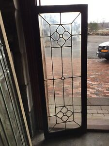 Sg 1318 Antique Leaded Glass Window To Flowers 20 X 54