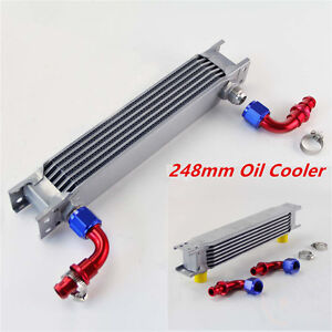 Universal 248mm 7 Row An10 Aluminum Engine Transmission Oil Cooler Silver Kits