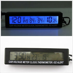 Car Suv Indoor Outdoor Digital Voltmeter Thermometer Clock With Ice Alert
