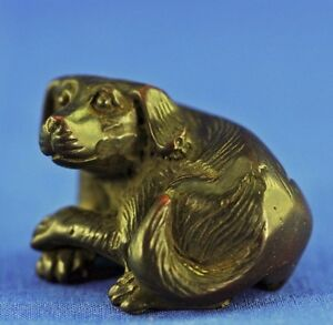 Antique Chinese Wood Carved Netsuke Of A Reclining Dog