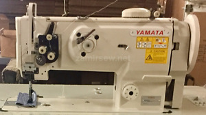 Yamata 1541s single needle walking foot sewing machine w table servo motor new