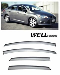 Wellvisors Side Window Defectors Visors W Black Trim For 12 Up Ford Focus