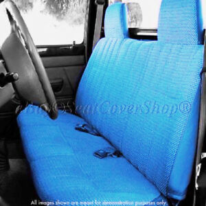 Triple Stitched Thick Small Pickup Truck Blue Solid Bench Seat Cover Custom Fit