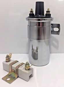 12v Ignition Coil Universal Chrome With External 1 6 Ohm Resistor