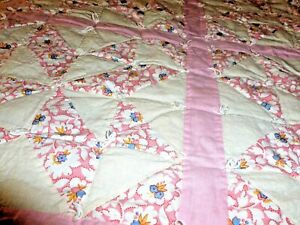 Antique Handmade Quilt Made In Pink And White And Blues And Hand Knotted