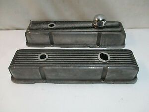 Chevy Cal Custom Vintage Aluminum Finned Valve Covers Hot Rat Rod Gasser J12579