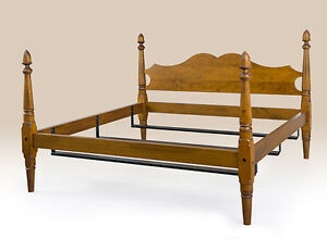 New Queen Size Colonial Style Bed Frame Tiger Maple Wood Antique Style Furniture