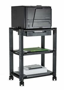 Mount it Printer Stand W Rolling Wheels Drawer Height Adjustable Stack Cart