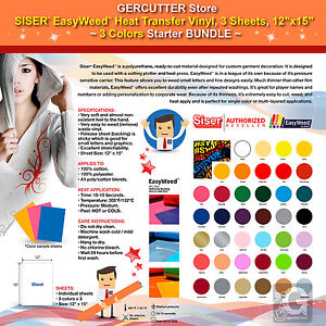 Siser Easyweed Heat Transfer Vinyl 3 Sheets 12 x15 3 Colors Starter Bundle