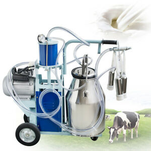 Usa 110v Electric Milking Machine For Farm Cows 25l Bucket Stainless Steel 550w