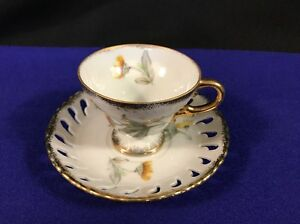 Footed Demitasse Tea Cup Laced Edge Saucer W Gold Trim Yellow Flower