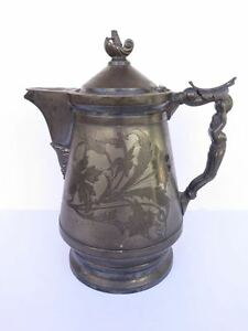 Antique Silver Plate Coffee Pitcher Hall Elton Co Wallingford Ct Pre 1890