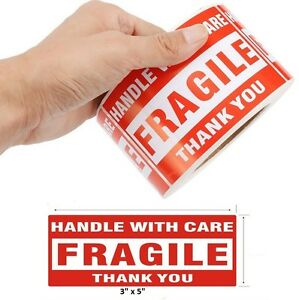 1000 3 x5 Fragile Handle With Care Thank You Mailing Labels Self Adhesive