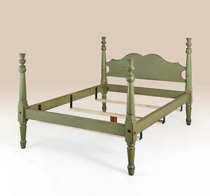 Rustic Queen Size Bed Green Headboard Wood Bedroom Furniture Thistle Motif New