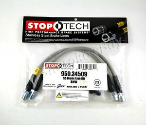Stoptech Stainless Steel Ss Braided Front Brake Lines For 88 91 Bmw 3 Series E30