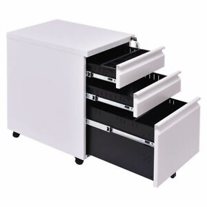 White 3 Drawer Rolling Mobile File Pedestal Storage Cabinet Steel Home Office