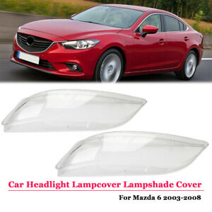 2pc Car Headlight Lampcover Lens Crystal Lampshade Cover For Mazda 6 2003 2008
