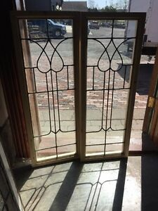 Sg 1371 Matched Pair Antique Leaded Glass Windows 14 X 38 Vertical