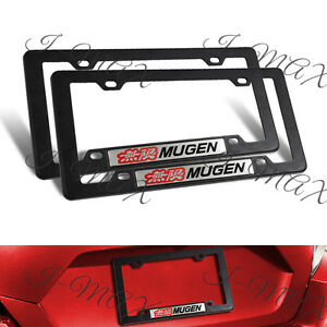 2pcs Mugen Car Trunk Emblem With Black Abs License Plate Tag Frame For Civic Si