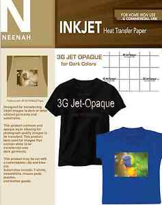 Neenah 3g Jet Opaque Heat Transfer Paper For Dark Colors 8 5x11 20 Sheets