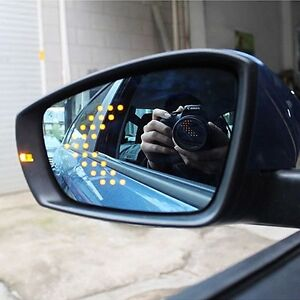 Power Heated Blue Wide Angle Sight Side Rear View Mirror Glasses For Skoda Fabia